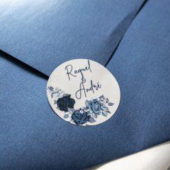 convite de casamento com selo azul 27.2019